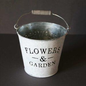 Zink Übertopf Flowers & Garden, shabby, weiß gewaschen, D = 15 cm, H = 13 cm