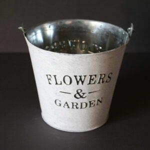 Zink-Übertopf-Flowers-Garden-shabby-weiß-gewaschen-D-16-cm-H-15-cm