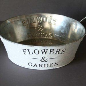 Zink-Schale-Flowers-&-Garden,-shabby,-weiß-gewaschen,-D-=-24-cm,-H-=-8-cm