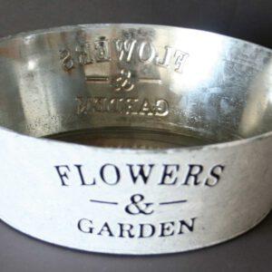 Zink-Schale-Flowers-&-Garden,-shabby,-weiß-gewaschen,-D-=-28-cm,-H-=-9-cm